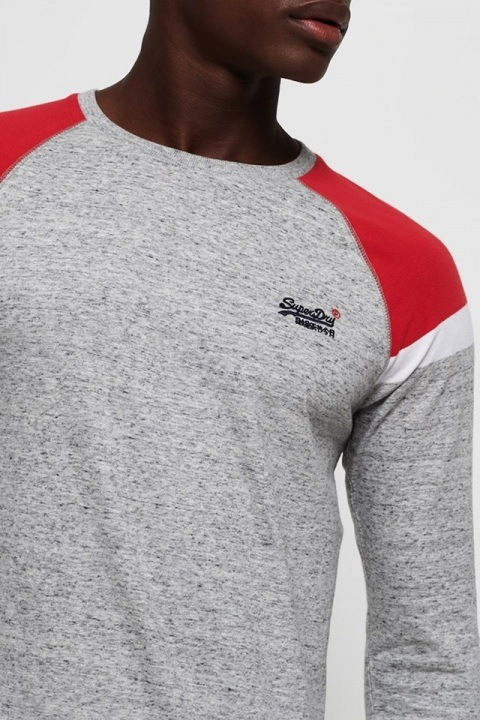 Superdry O L Eng'D Baseball L/S T-skjorte Varsity Silver Grit