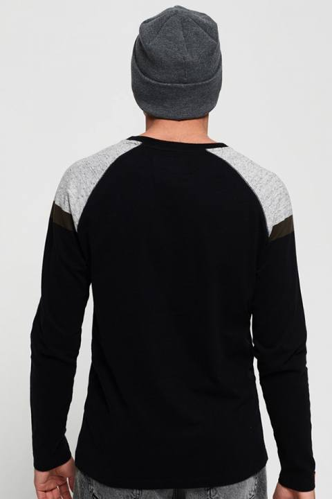 Superdry O L Eng'D Sleeve Baseball T-skjorte Black