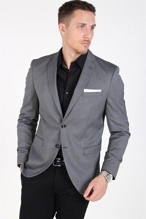 Selected Slim-MyloLogan Blazer Dark Grey StructKlokkee