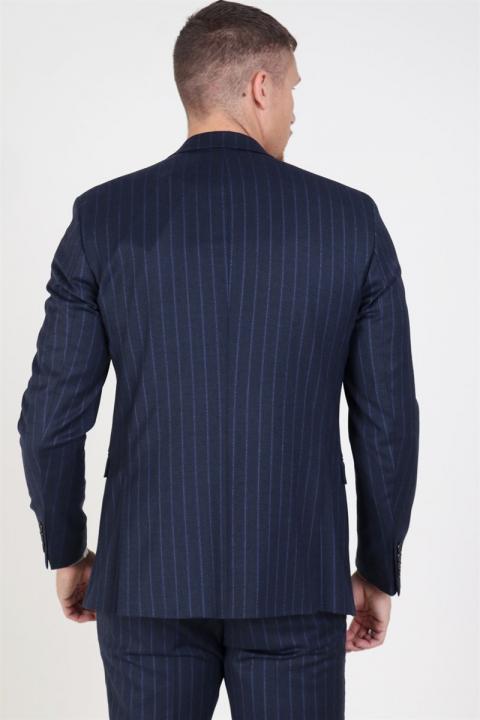 Selected Slim Aden Stripe Blazer Grey/Blue