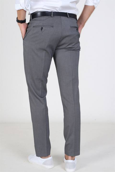 Selected Slim Mylo Logan StructKlokkee Pants Dark Grey Melange