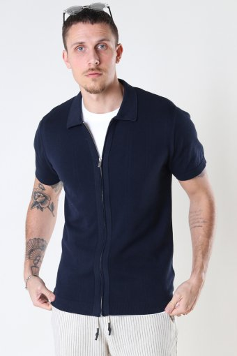 JPRBLAIGOR KNIT SS POLO CARDIGAN New Navy Solid color