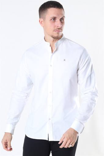 Clean Cut Oxford Stretch Mao L/S Skjorte White