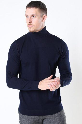 Clean Cut Merino Wool Roll Strikke Navy