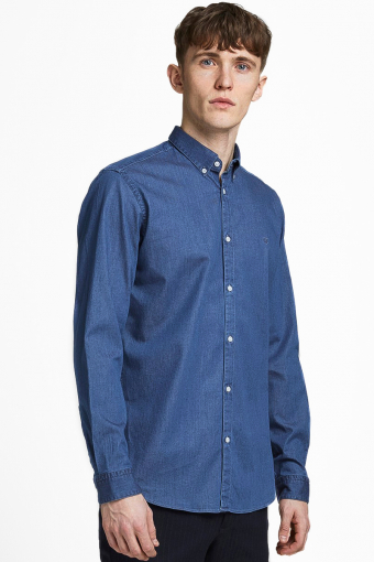 JPRBLALOGO STRETCH DENIM SHIRT L/S STS Medium Blue Denim SLIM FIT