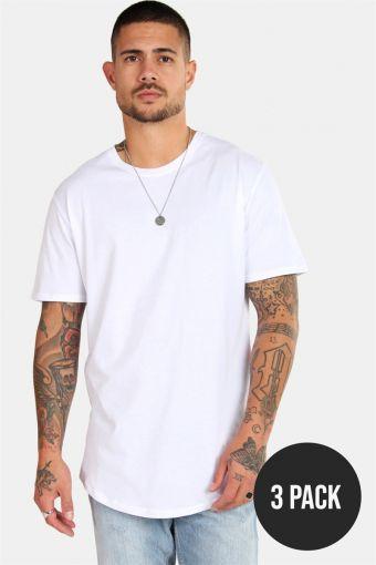 matt Longy SS T-skjorte 3-pack White