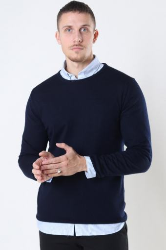 Clean Cut Merino Wool Crew Strikke Navy