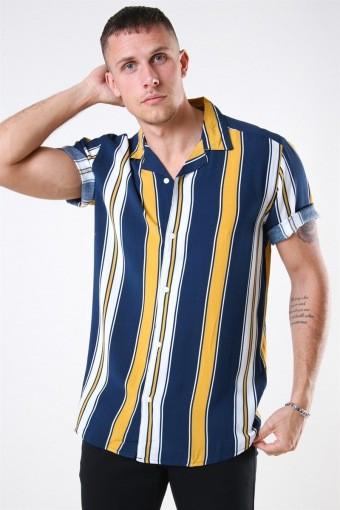 Vilas S/S Reverse Viscose Skjorte Golden Spice Stripes