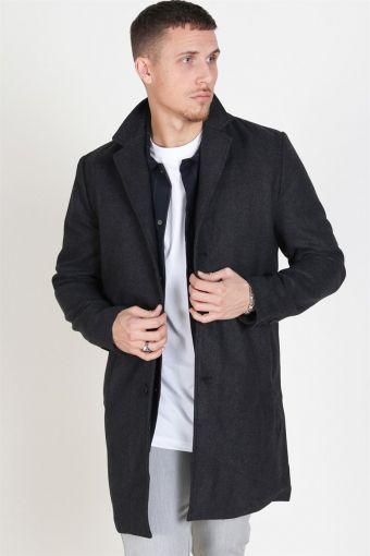 Fayette Faux Wool Frakke Dark Grey Melange
