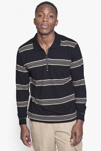 Stona Stripe Polo Black