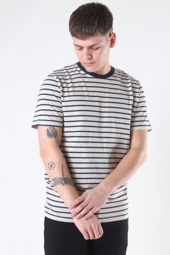 Striped Tee Crewneck White Melange