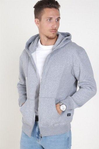 Jack & Jones Soft Genser Zip Hood Light Grey Melange