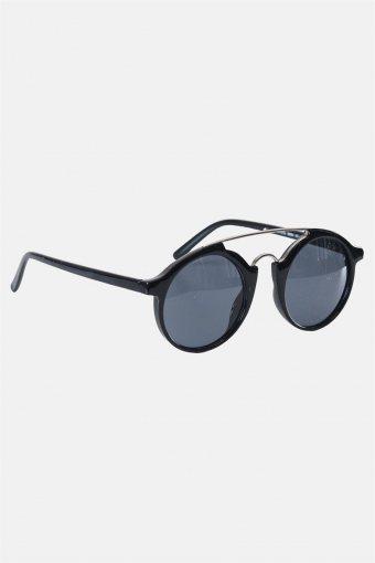 Fashion Round Club Sort/Silver Solbrille Grey Lens