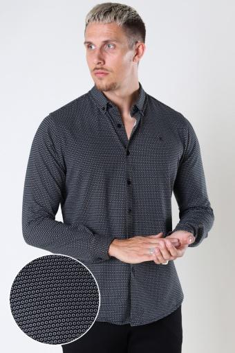 Hudson Stretch Shirt L/S Black Cube