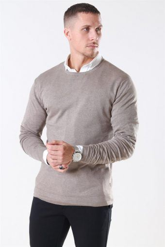 Tailored & Originals Mont Strikke O-Neck Dune Melange