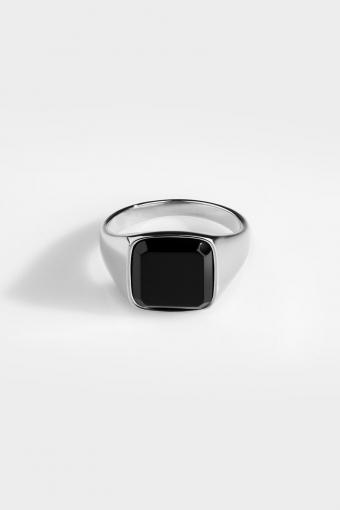 Black Onyx SignatKlokkee Ring Silver