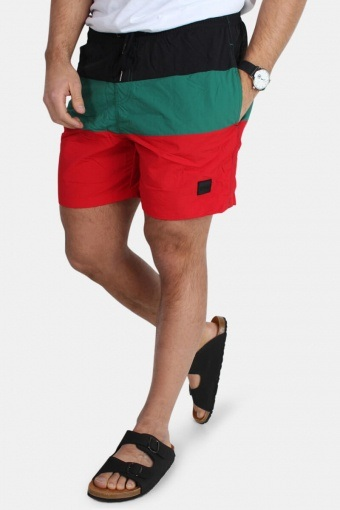 Klokkeban Classics Color Block Badeshorts Firered/Black/Green