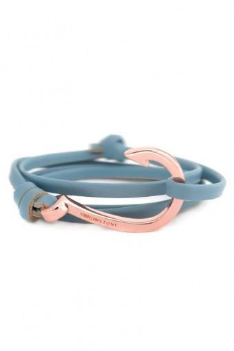 Hook Leather Armbånd Lake Blue/Cobber
