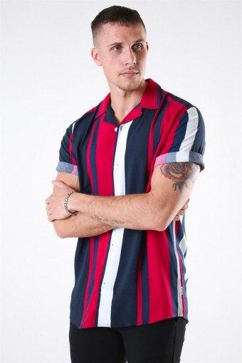 Vilas S/S Reverse Viscose Skjorte Persian Red Stripes