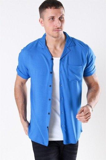 Silo Solid Viskose Skjorte S/S Baleine Blue