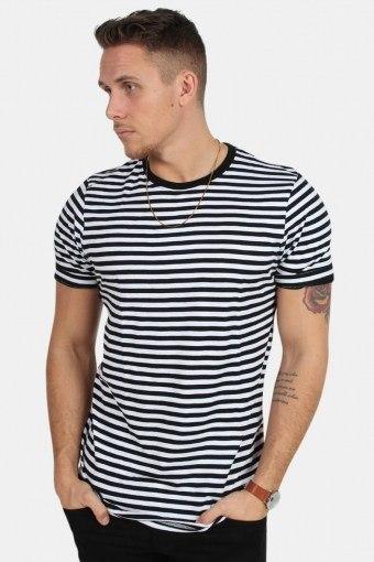 T-skjorte Striped Black/White