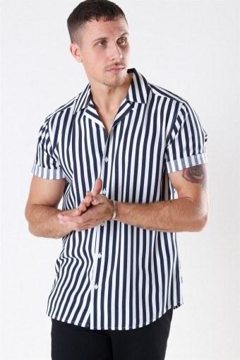 Wayne SS Striped Viscose Skjorte Noos Dress Blues