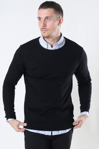 Clean Cut Merino Wool Crew Strikke Black