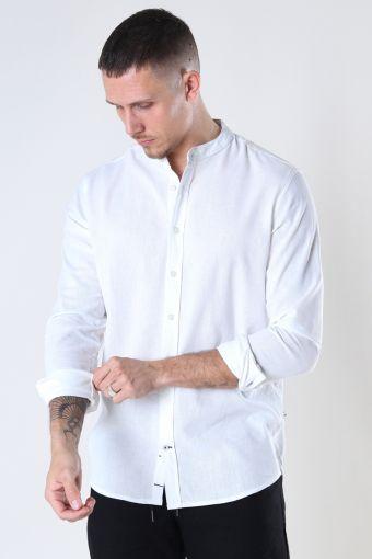 Johan Linen henley shirt White