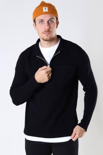 Josh Cotton half zip knit Black