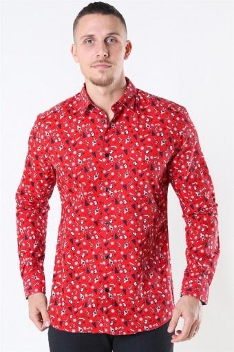 LS Funny Ditsy Skjorte Pompeian Red