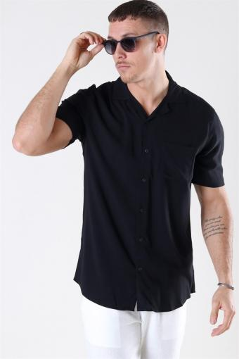 Silo Solid Viscose Skjorte Black
