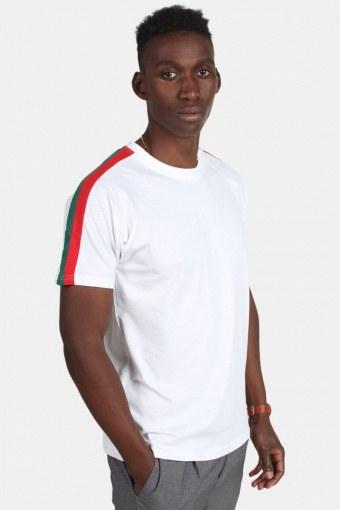 Klokkeban Classic TB2059 Stripe Shoulder Raglan T-shirt White/Firered/Green