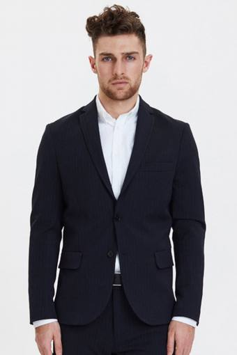 Como Pinstripe Blazer Dark Navy/Light Brown