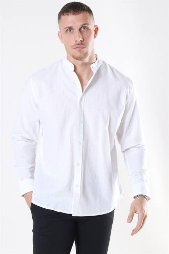 Clean Cut Cotton Linen Mao Skjorte White