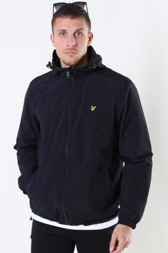 Zip Through Hooded Jacket Jet Black