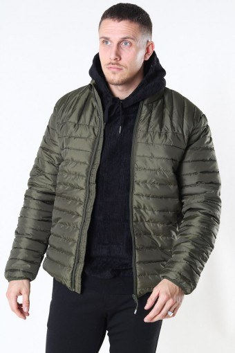 Paul Quilted Highneck Jakke Olive Night