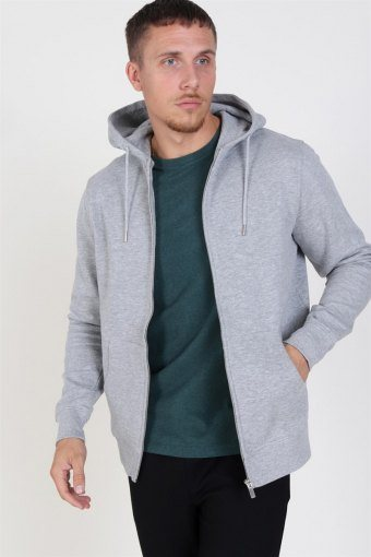 Organic Morgan Zip Genser Light Grey Mel