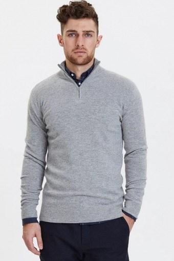 Cashmerino Zipper Knit Light Grey Melange