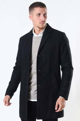 Fayette Faux Wool Frakke Black
