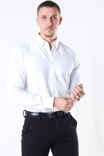 Slim Oliver Knit Flex Skjorte LS Bright White