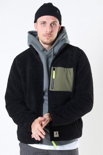 Hugh Fleece Jakke Black