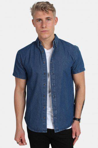 Johan Denim Skjorte S/S Dark Blue