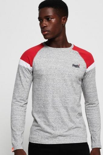 O L Eng'D Baseball L/S T-skjorte Varsity Silver Grit