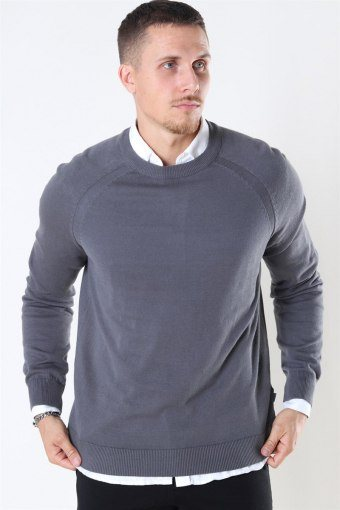 Luno O-neck Strikke Grey Melange