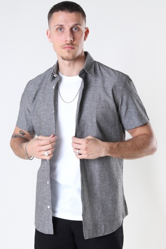 SLHSLIMNEW-LINEN SHIRT SS CLASSIC W Black Olive