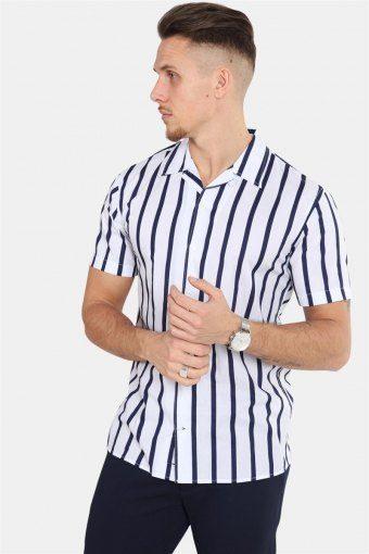 Cuba S/S Gr.86 Skjorte White/Dark Blue