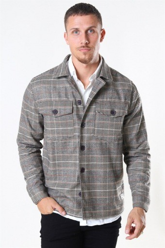 Clipper LS Overshirt Big Brown Check