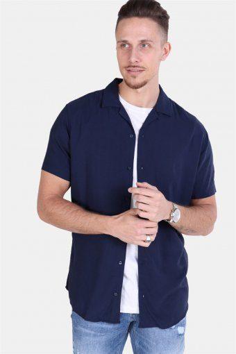 Randy Resort Skjorte S/S Solid Navy Blazer