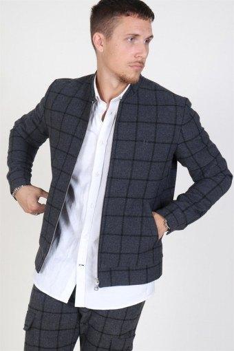 Como Wool Check Bomberjakke Charcoal/Black