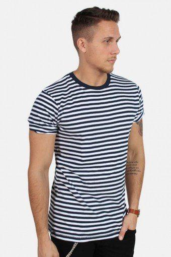 T-skjorte Striped Navy/White